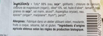 Tofu Olives Noires - Ingrédients - fr