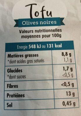 Tofu Olives Noires - Informations nutritionnelles - fr