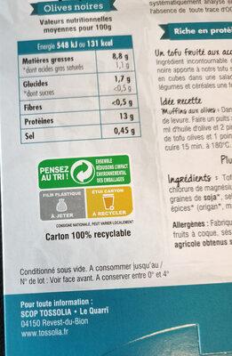 Tofu Olives Noires - Instruction de recyclage et/ou informations d'emballage - fr