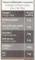 Tofu fumé - Nutrition facts