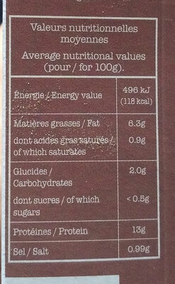 Tofu fumé - Nutrition facts - fr