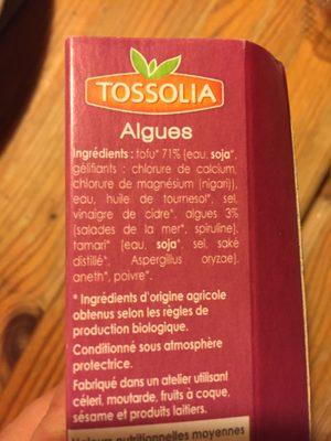 200G Tofu Algues - Ingrédients - fr
