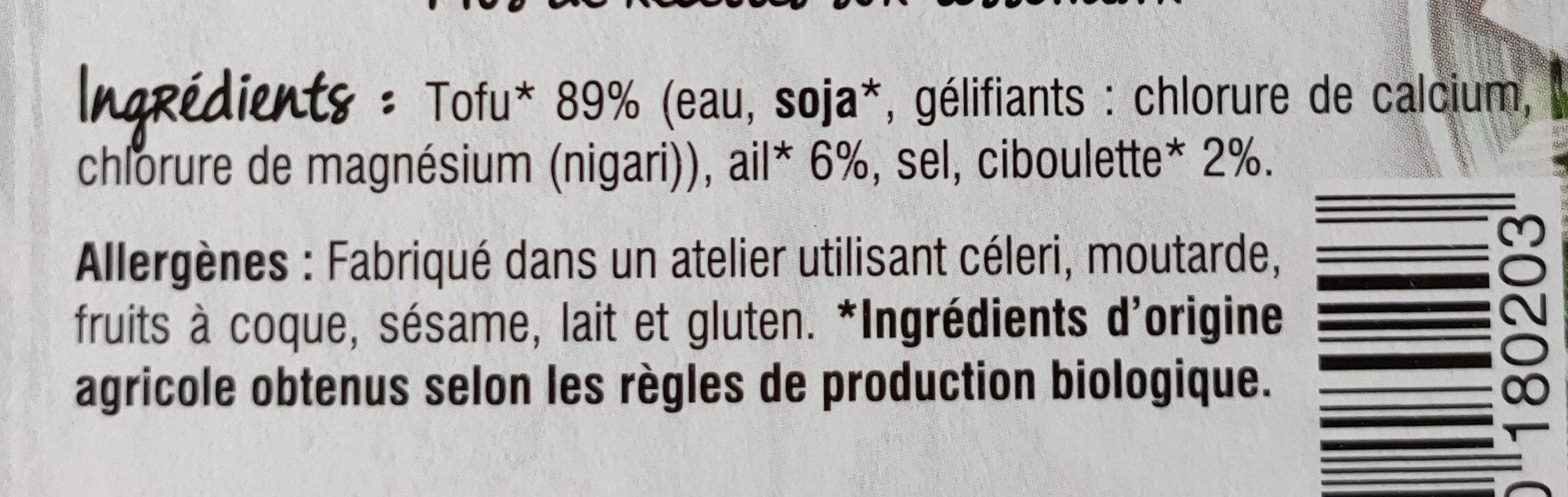Tofu Ail & Ciboulette - Ingrédients - fr