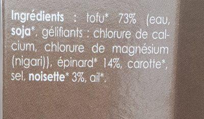Tofu Epinard noisette - Ingredients
