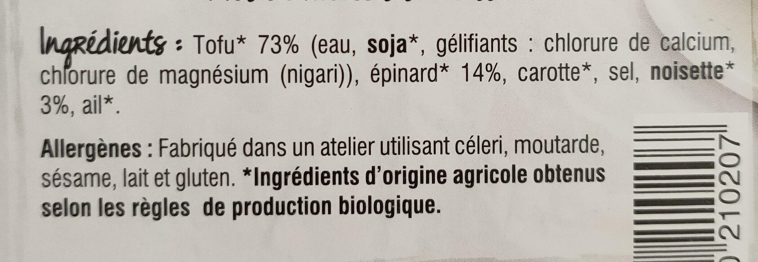 Tofu épinard noisette - Ingrédients - fr