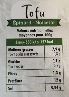 Tofu épinard noisette - Informations nutritionnelles - fr