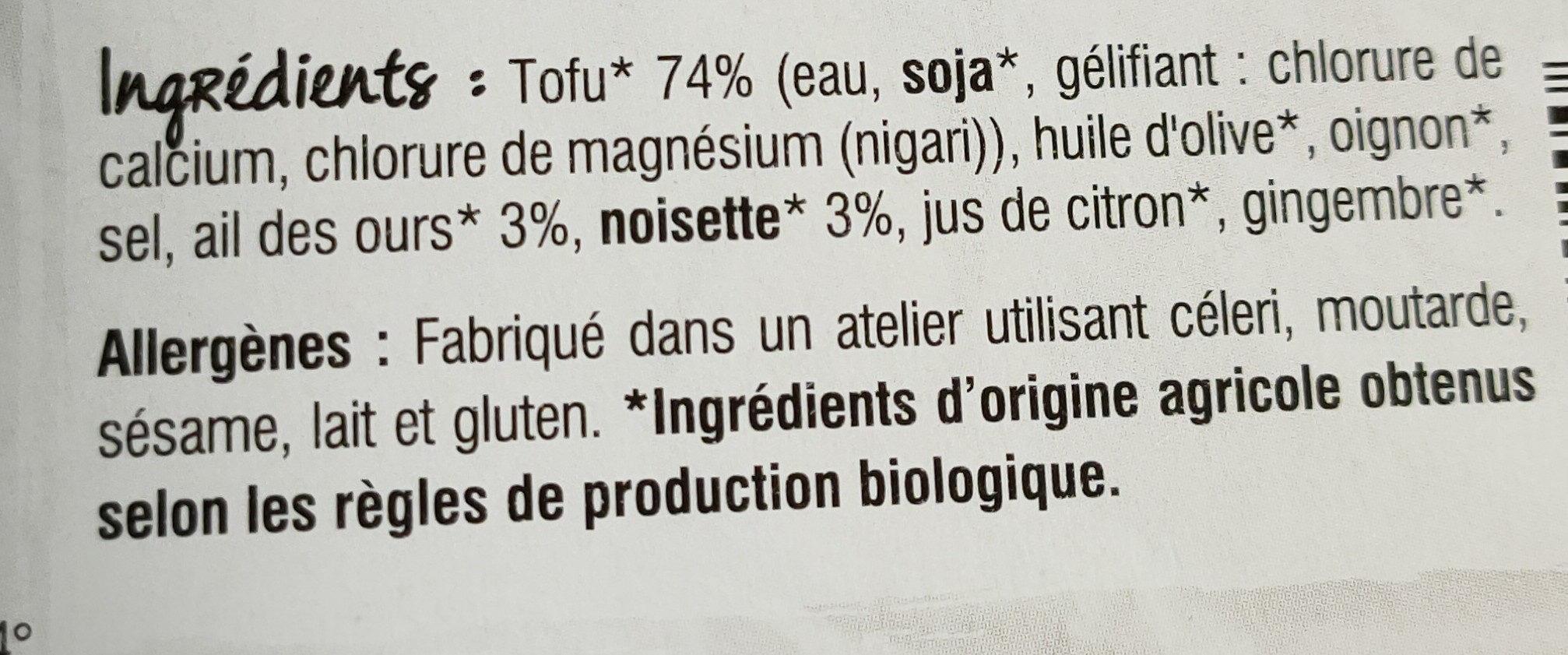 Tofu Ail des ours & Noisettes - Ingrédients - fr