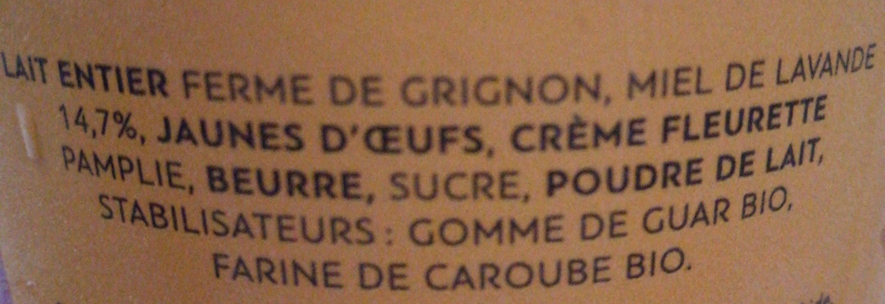Glace Alpérel miel lavande - Ingredients