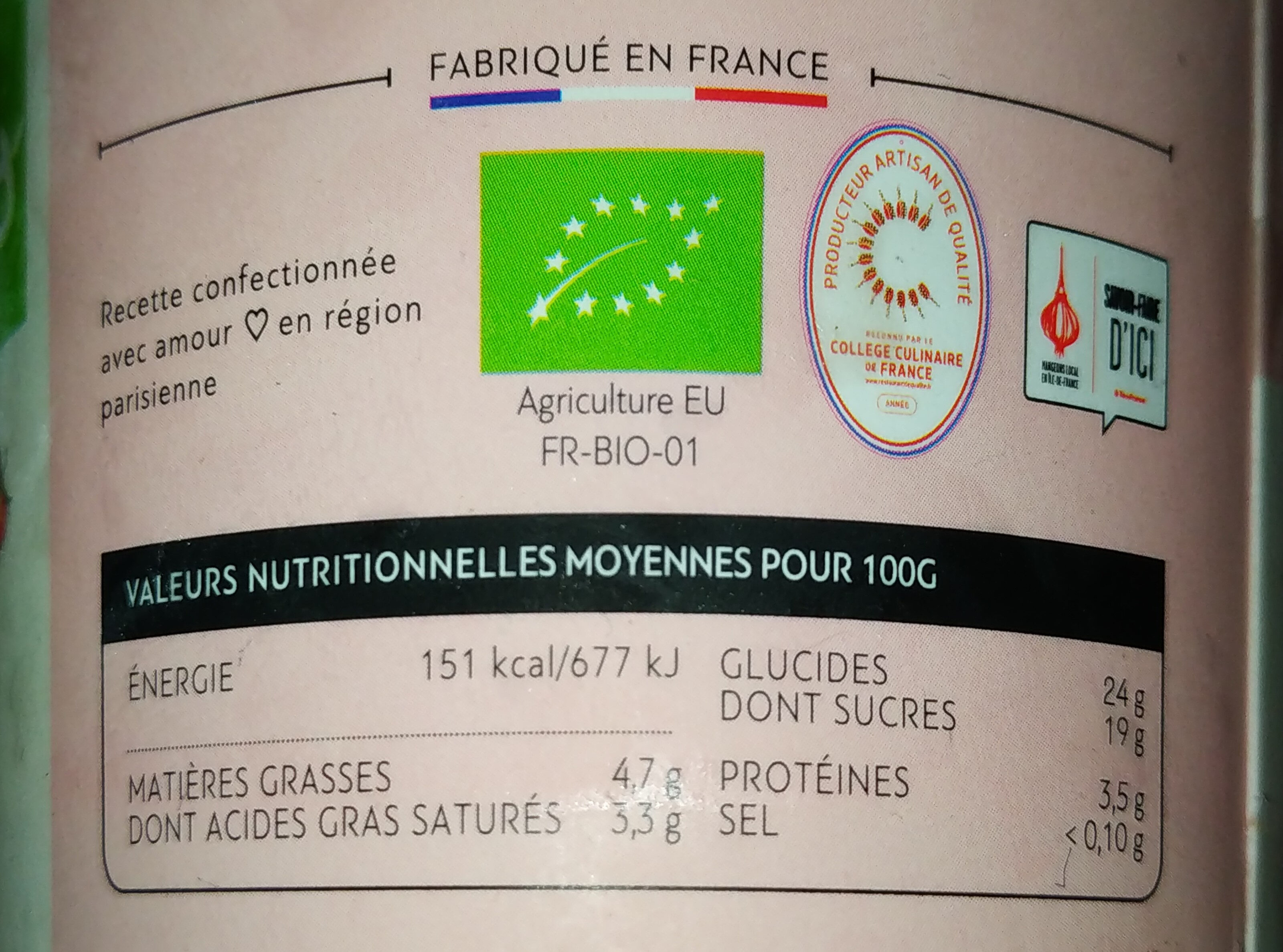 Yaourt compotee de fraise glace - Valori nutrizionali - fr