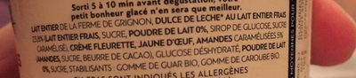 Crème Glacée Dulce de Leche, Amandes Caramélisées - Ingrédients