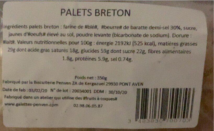 Palets Breton - Valori nutrizionali - fr