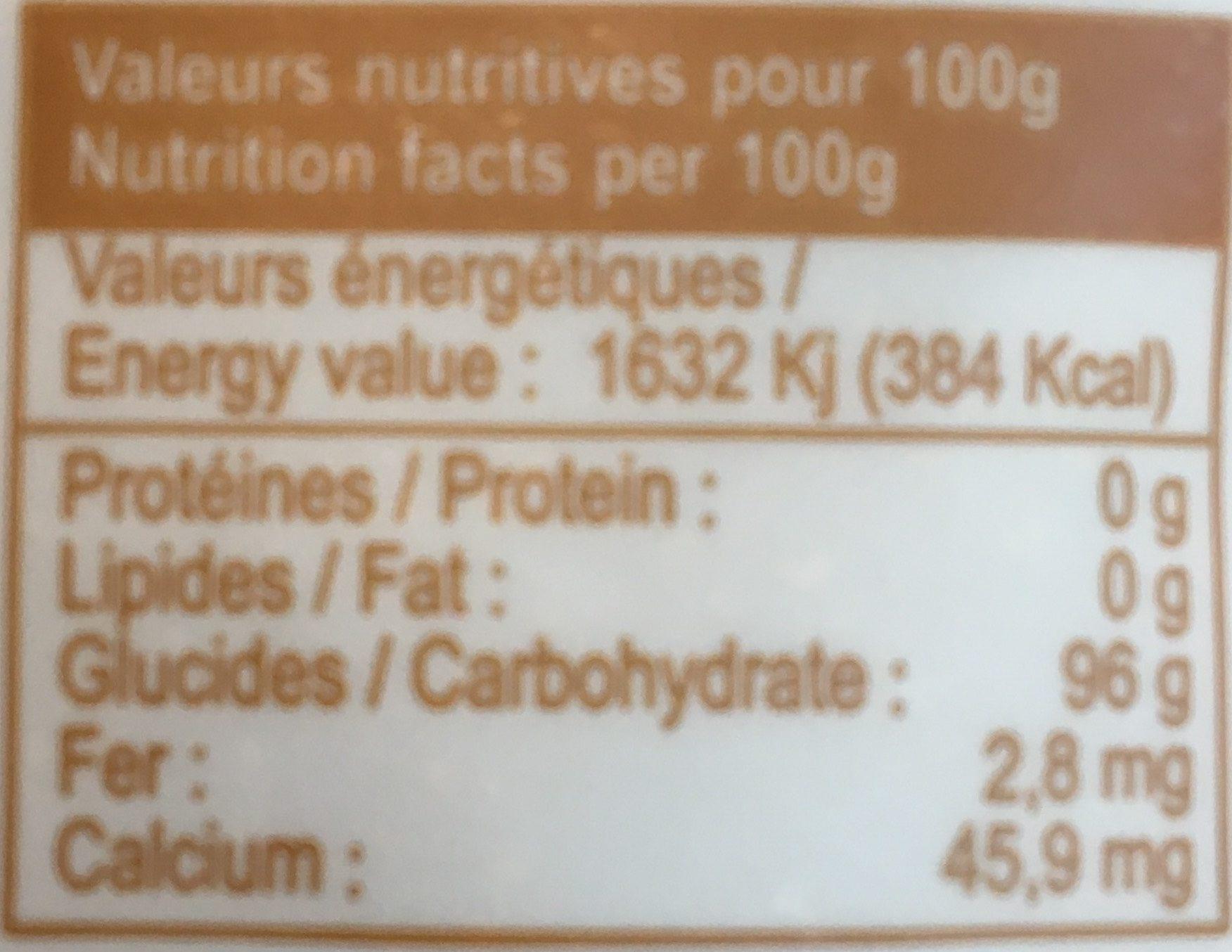 Sucre de canne complet Pérou - Valori nutrizionali - fr