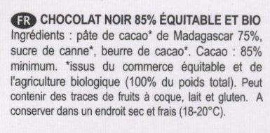 Chocolat noir 85% Madagascar grand cru sambirano - Ingredienti