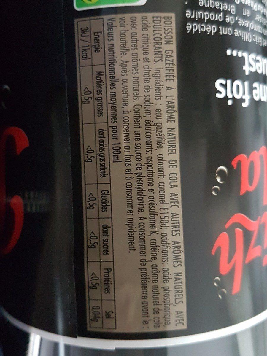 Breizh Cola zéro - Ingrédients