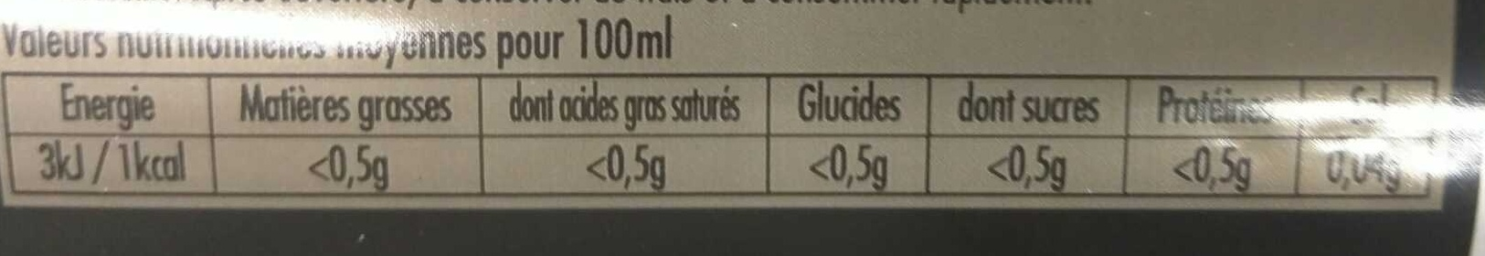 Breizh Cola zéro - Informations nutritionnelles
