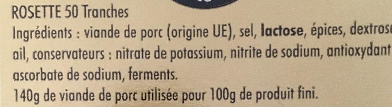 Rosette, 50 tranches - Ingrédients - fr
