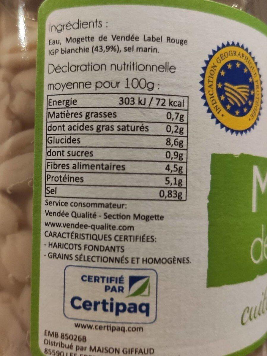 Mogette de Vendée - Valori nutrizionali - fr