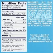 Welch's Island Fruits Snacks - Nutrition facts