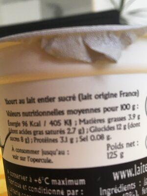 Yahourt nature sucré - Informations nutritionnelles - fr