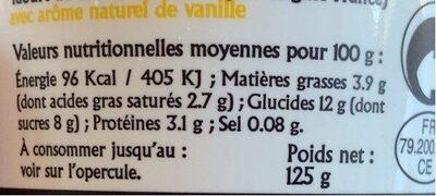 Yaourt à la vanille - Informations nutritionnelles - fr