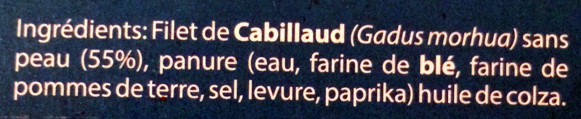 Filets de Cabillaud Panés en Bâtonnets Surgelés - Ingrédients - fr