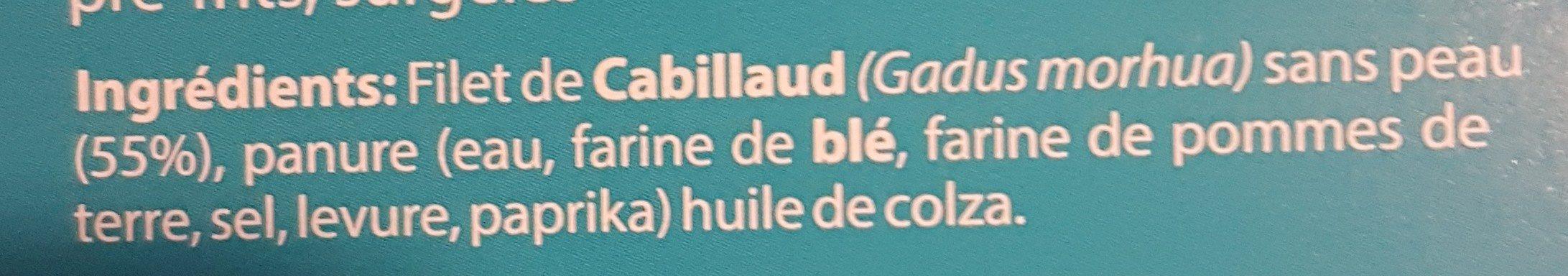 Filet de cabillaud panés en bâtonnets - Ingrédients - fr