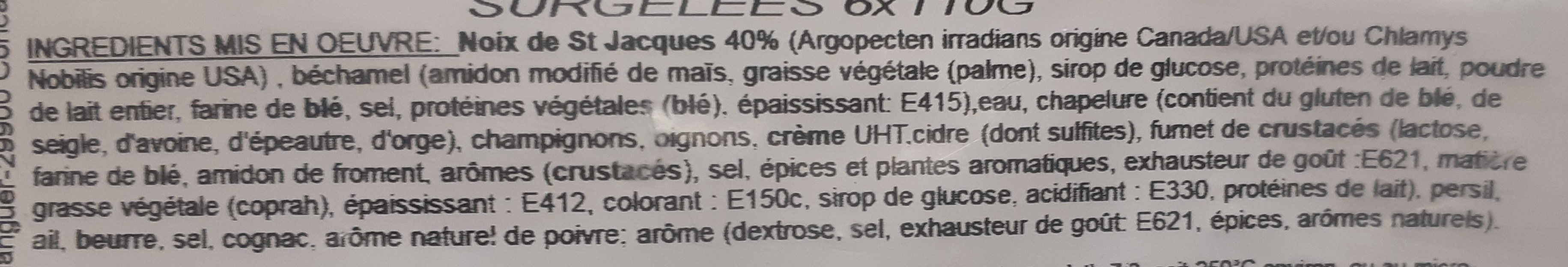 Coquilles Saint Jacques à la normande - Ingrédients - fr