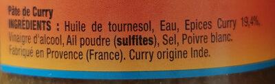 pâte de curry - Ingrédients - fr