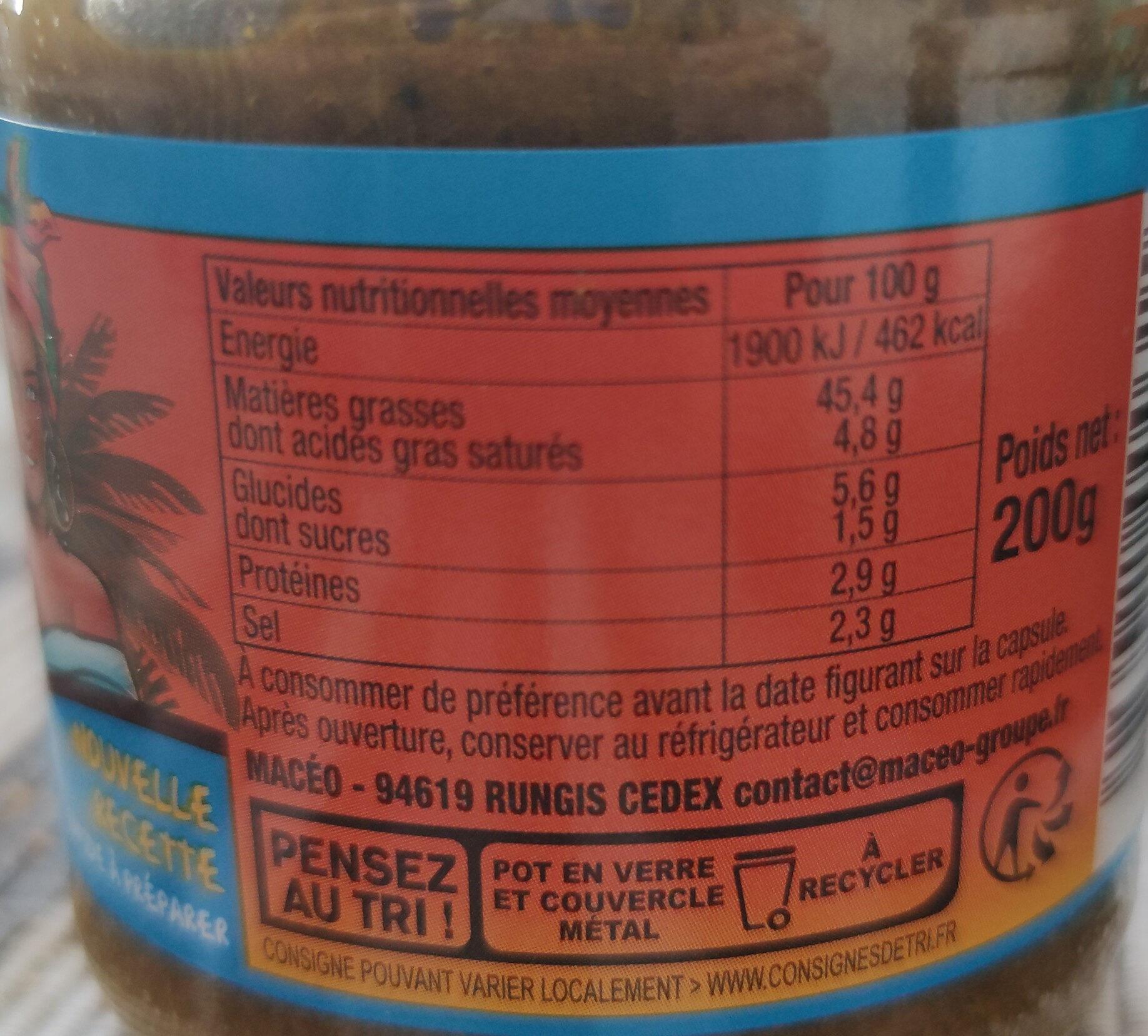 pâte de curry - Informations nutritionnelles - fr