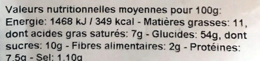 Brioche Tressée Pur Beurre - Informations nutritionnelles - fr