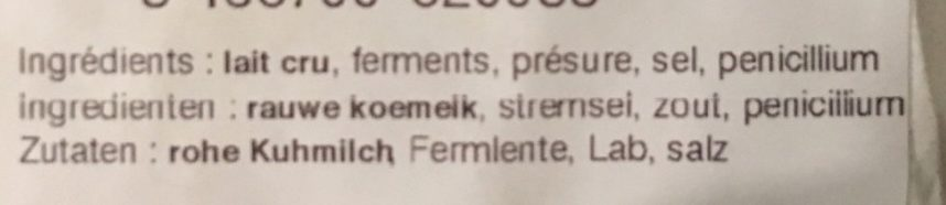 Neufchatel fermier au lait cru - Ingredients
