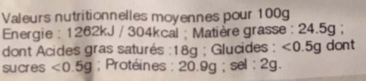 Neufchatel fermier au lait cru - Nutrition facts