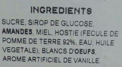 Nougat Tendre de Montélimar - Ingredients
