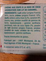 Crème aux oeufs à la noix de coco - Ingrédients - fr