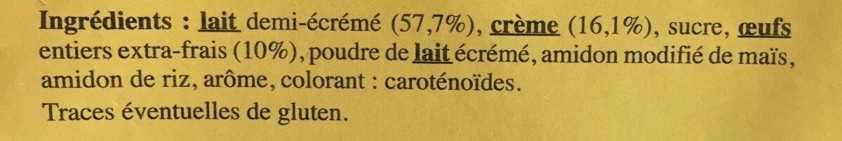 Crème aux Œufs Saveur Vanille - Ingrédients - fr