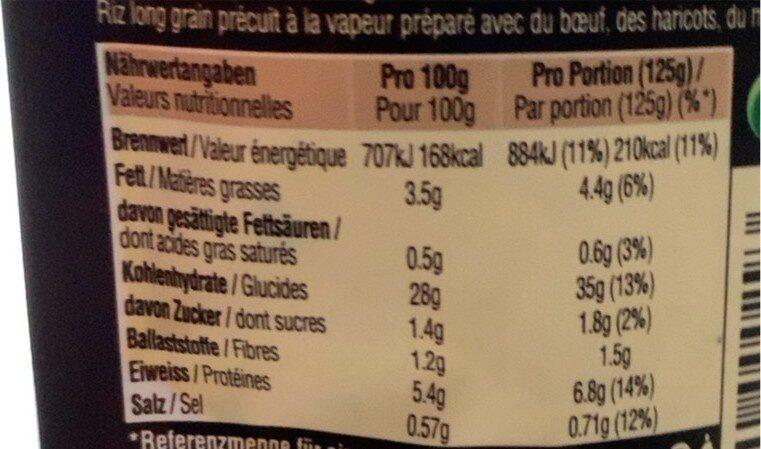 Chili con Carne VIANDE HACHÉE & LÉGUMES - Informations nutritionnelles - fr