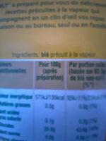 Blé tendre cuisson 10 min Ebly 500 g - Ingrediënten - fr