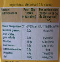 Blé tendre cuisson 10 min Ebly 500 g - Ingrédients - fr