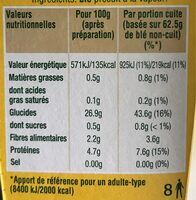 Blé tendre cuisson 10 min Ebly 500 g - Voedingswaarden - fr
