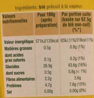 Blé tendre cuisson 10 min Ebly 500 g - Informations nutritionnelles - fr
