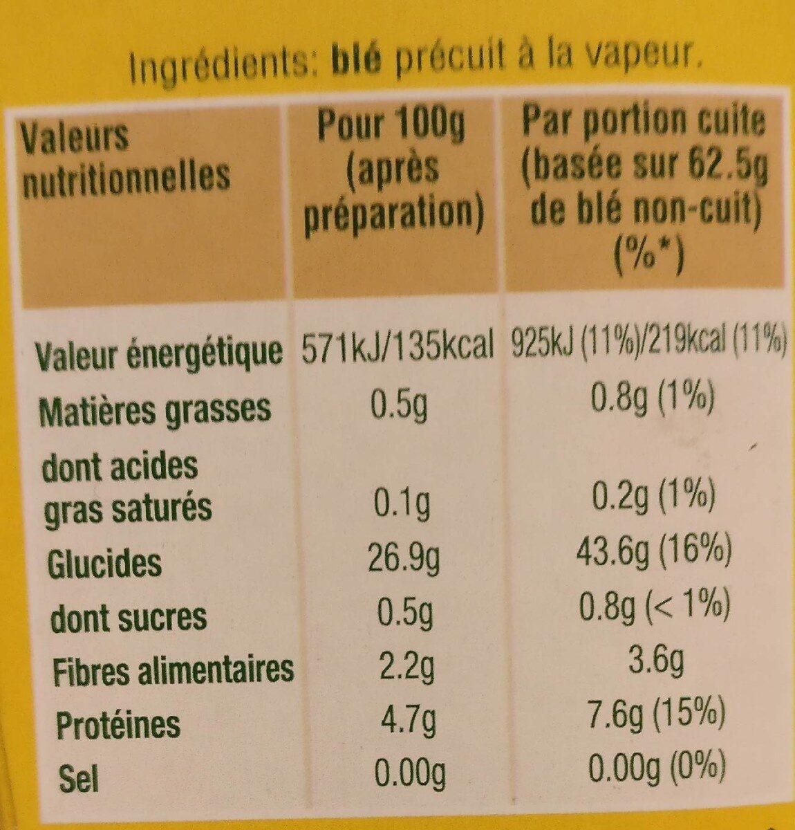 Blé ebly - Informations nutritionnelles - fr