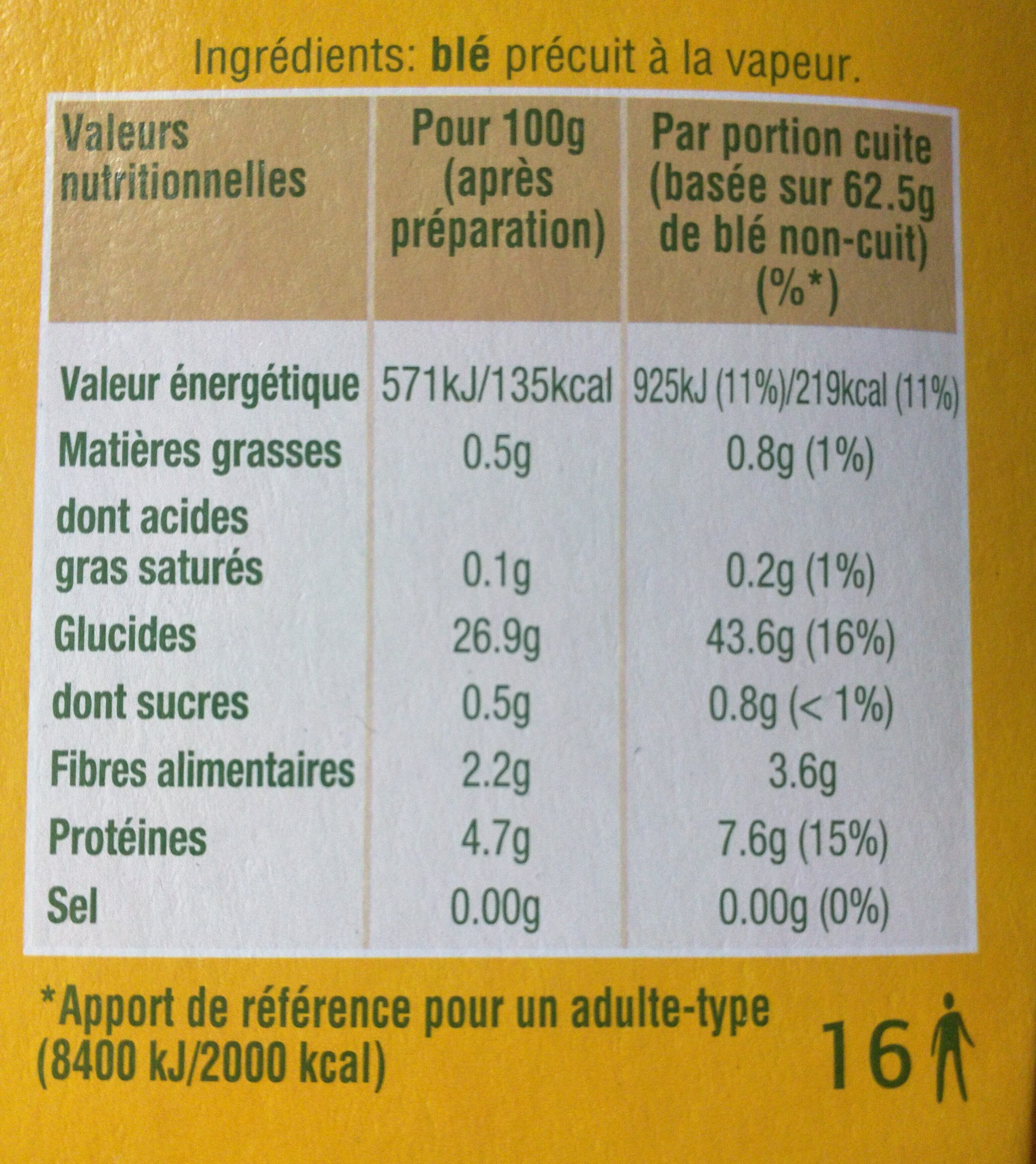 Blé pré-cuit - Ingredients - fr