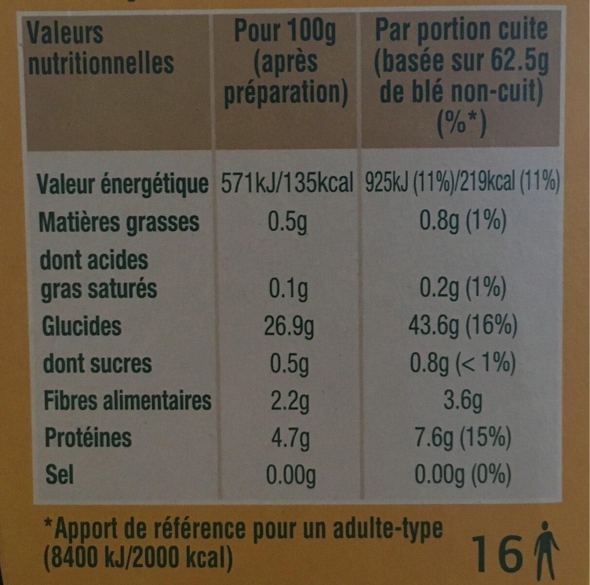 Blé tendre cuisson 10 min Ebly 1kg - Voedingswaarden - fr
