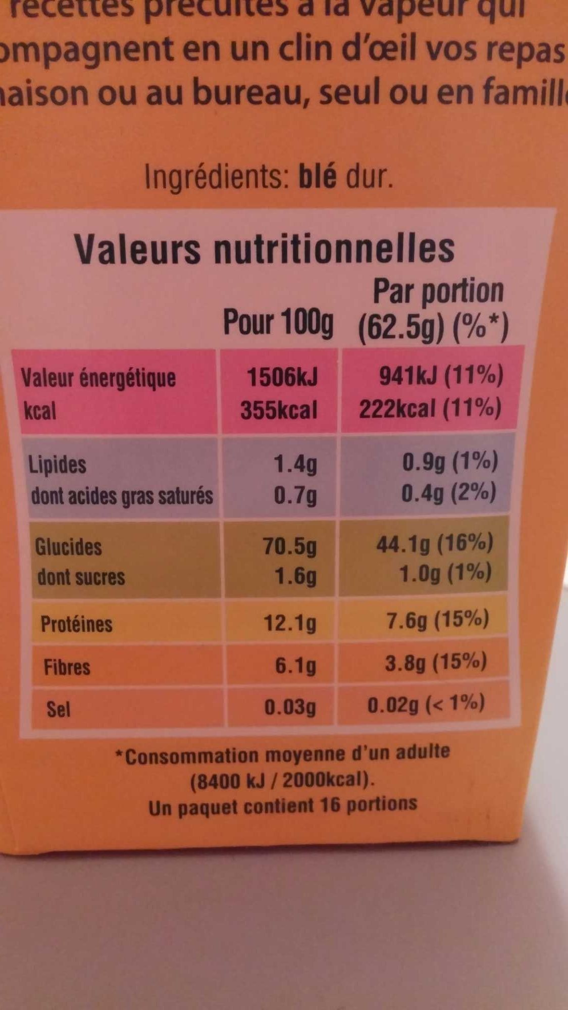 Ebly - Nutrition facts
