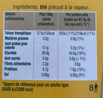 Blé cuisson 10 min Ebly 4 x 125 g - Voedingswaarden - fr