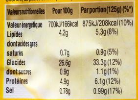 Riz paëlla - Informations nutritionnelles - fr