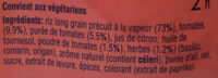Riz à la Méditerranéenne - Ingrédients