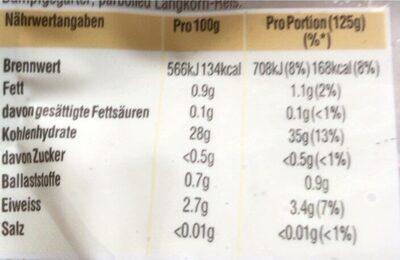 Original langkorn reis express - Informations nutritionnelles - de