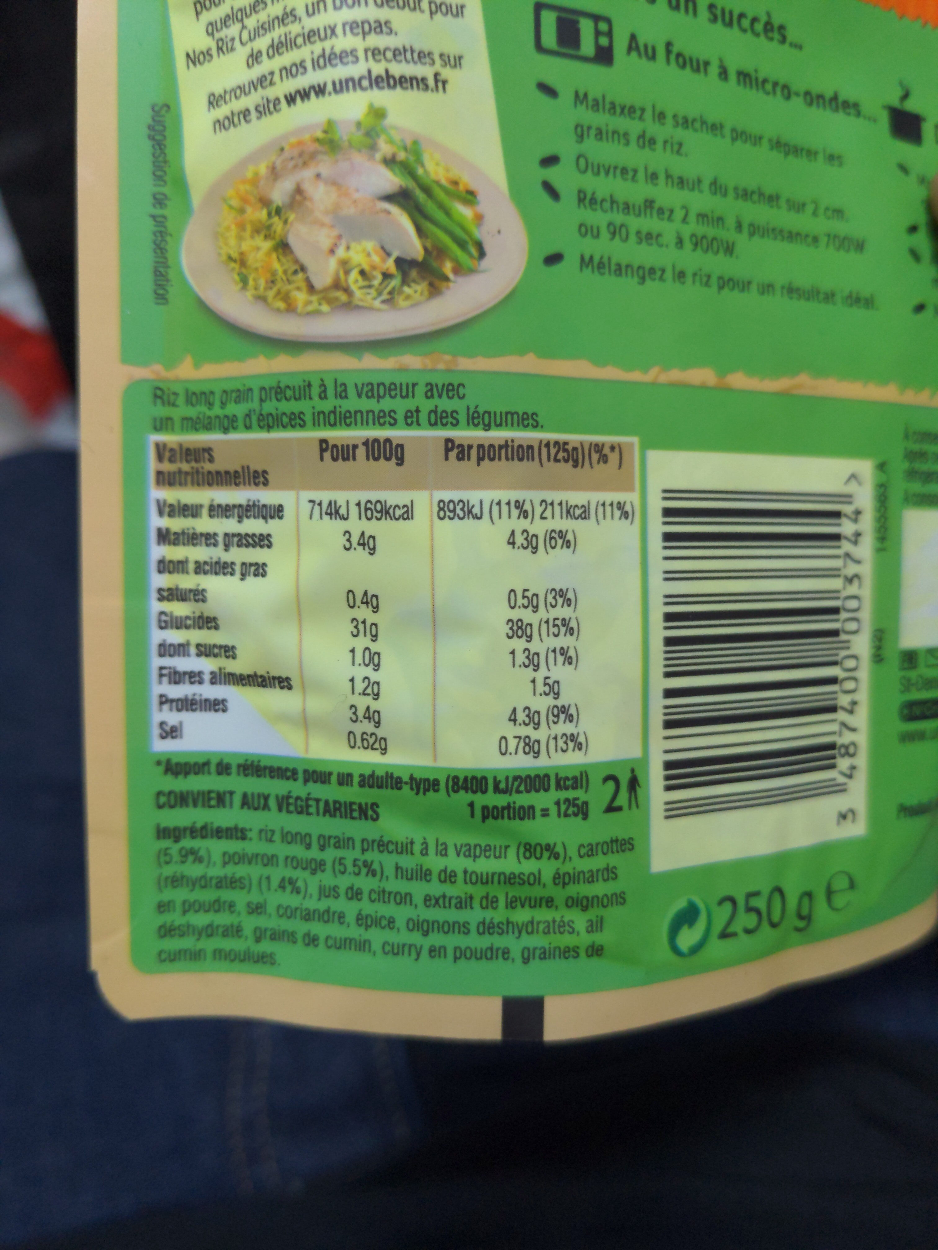 Riz au curry et légumes - Nutrition facts - en