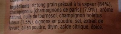 Riz aux champignons de Paris - Ingrédients - fr
